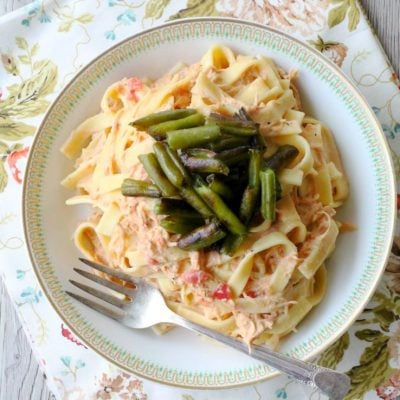 Creamy Italian Chicken and Noodles with Green Bean Croutons