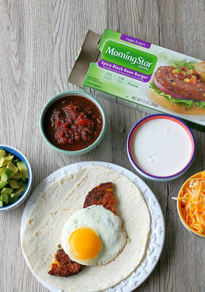 Black Bean Burger Breakfast Burritos by Foodtastic Mom