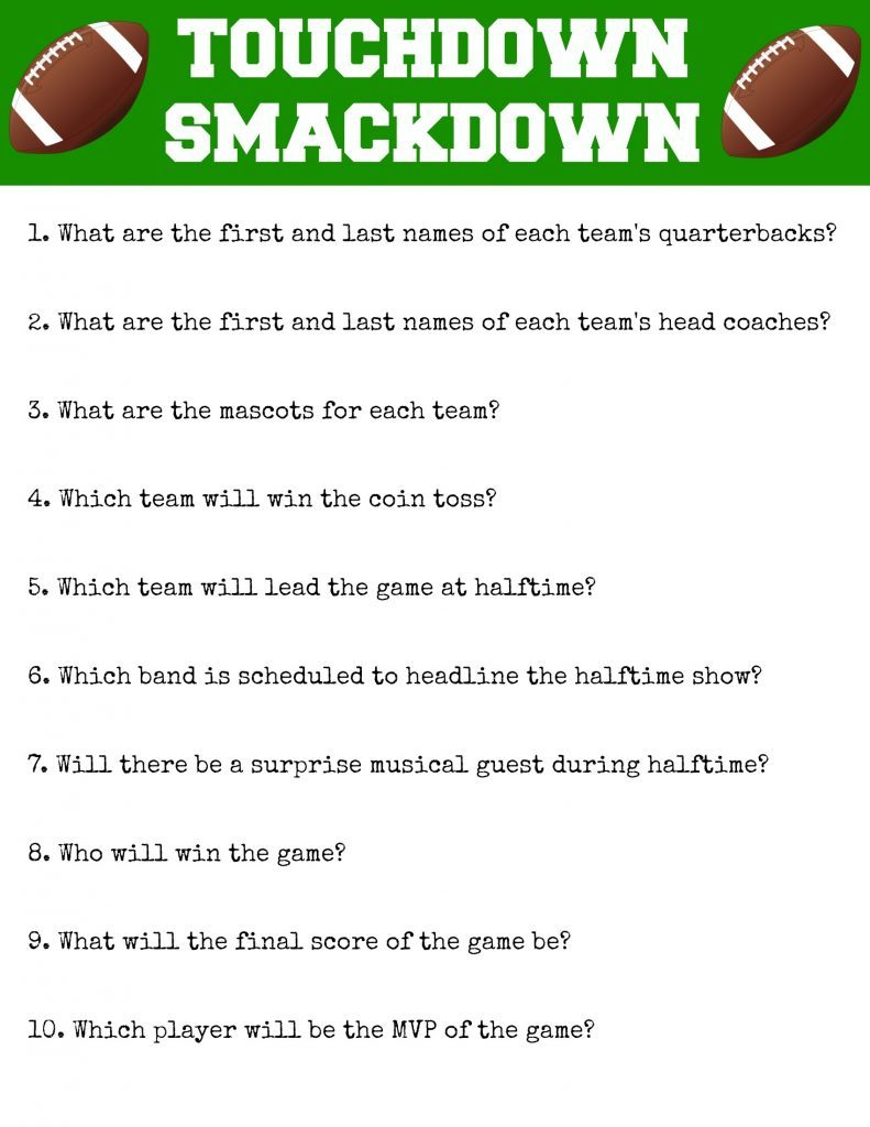Touchdown Smackdown Printable by Foodtastic Mom #GameDayGlory