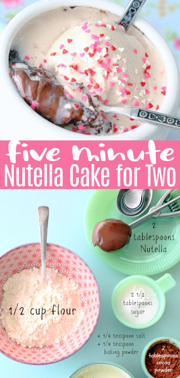 Five Minute Nutella Cake for Two | Foodtastic Mom #nutella #nutellarecipes #mugcake #cakerecipes #nutellamugcake #valentinesday via @foodtasticmom