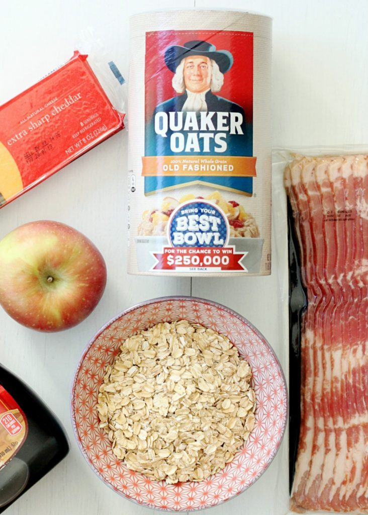 Cheddar Oatmeal with Maple Roasted Apples and Bacon by Foodtastic Mom #BuildYourBestBowl