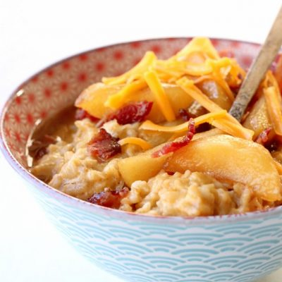 Cheddar Oatmeal with Maple Roasted Apples and Bacon