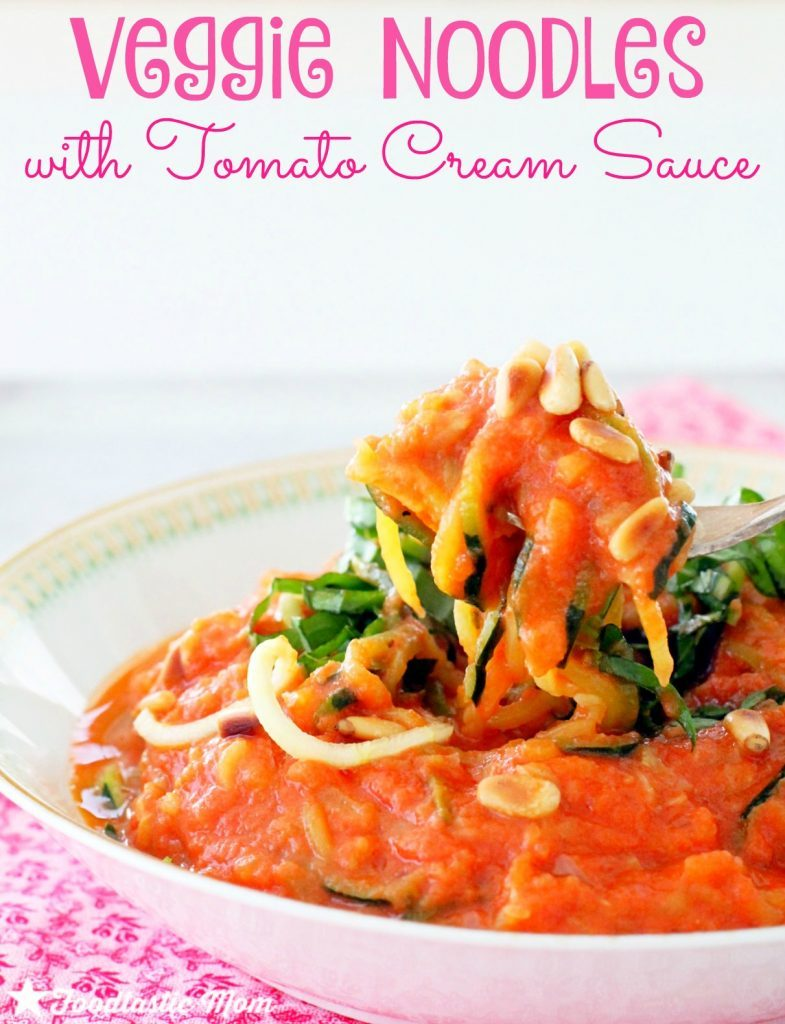 Veggie Noodles with Tomato Cream Sauce by Foodtastic Mom