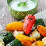 Veggie Halloumi Kebabs with Creamy Grilled Lemon Dip