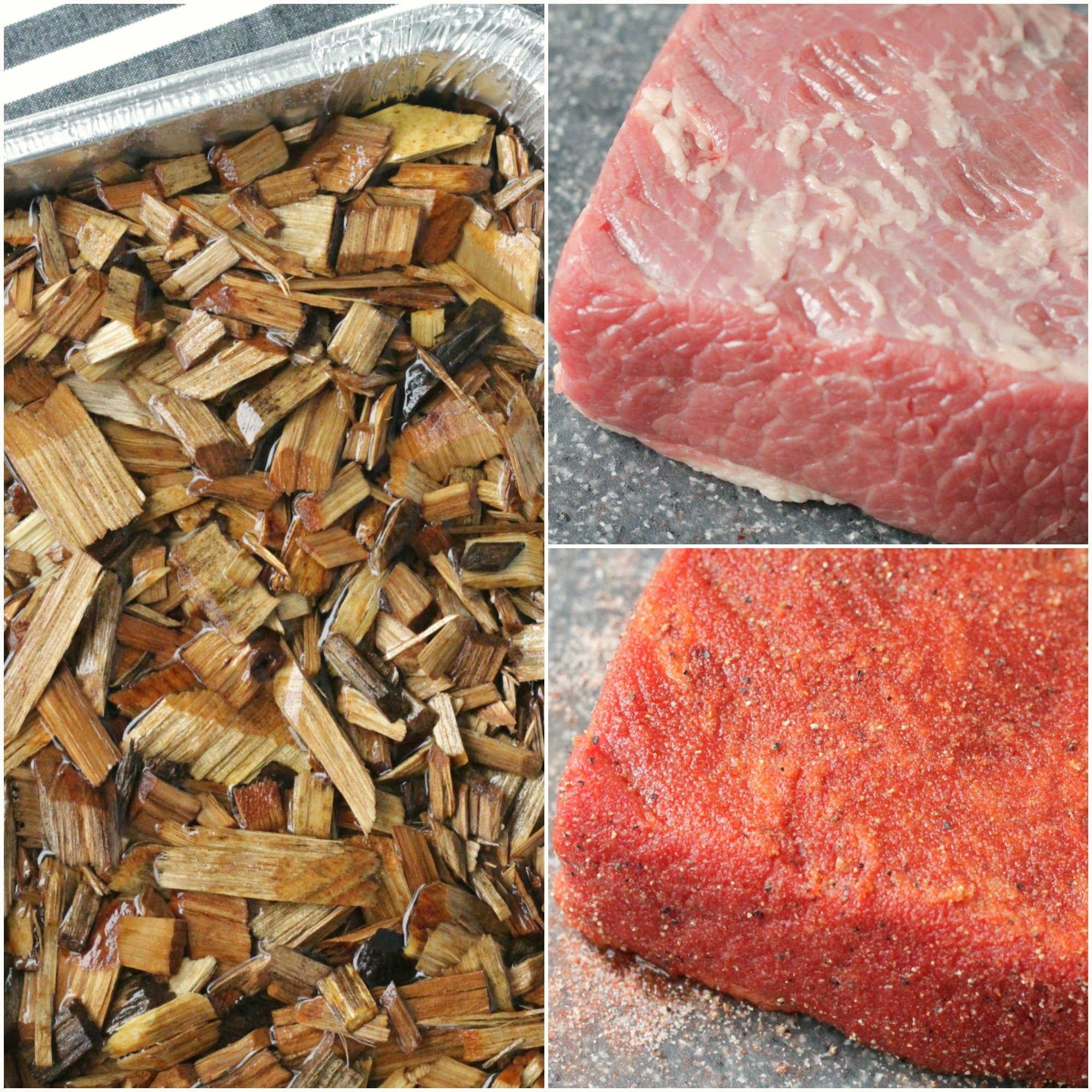 collage of soaking wood chips and raw brisket both with and without rub