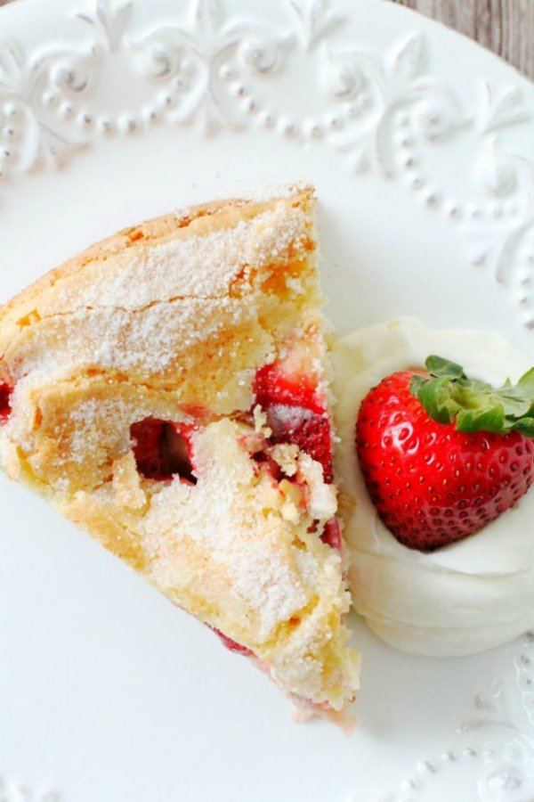 overhead view of french strawberry cake slice
