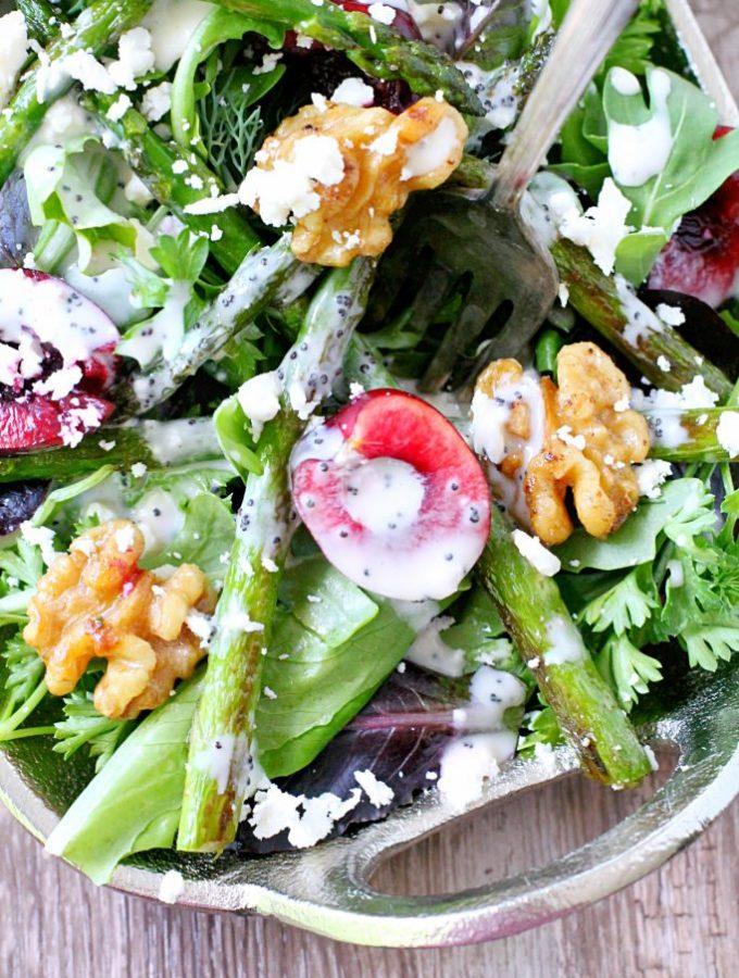 Fresh Cherry and Asparagus Salad with Poppy Seed Dressing by Foodtastic Mom