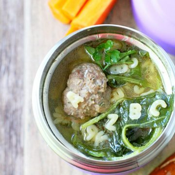 Beefy Alphabet Italian Wedding Soup by Foodtastic Mom