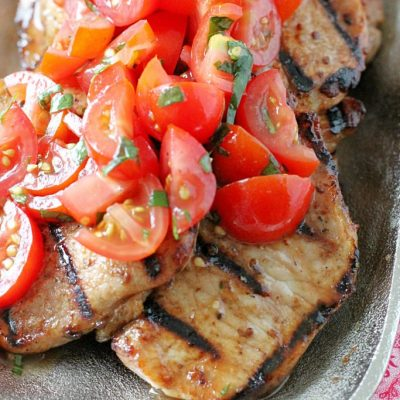 Grilled Pork Caprese by Foodtastic Mom #GrillPorkLikeASteak #ad