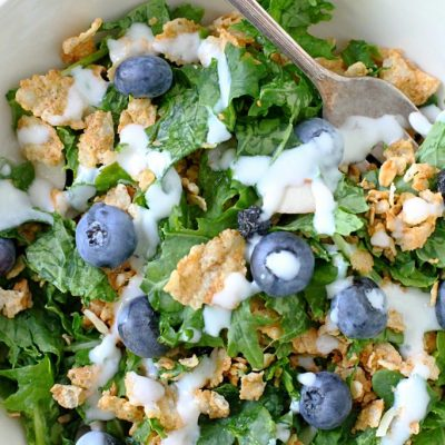 Blueberry Kale Breakfast Salad by Foodtastic Mom #CerealAnytime #ad