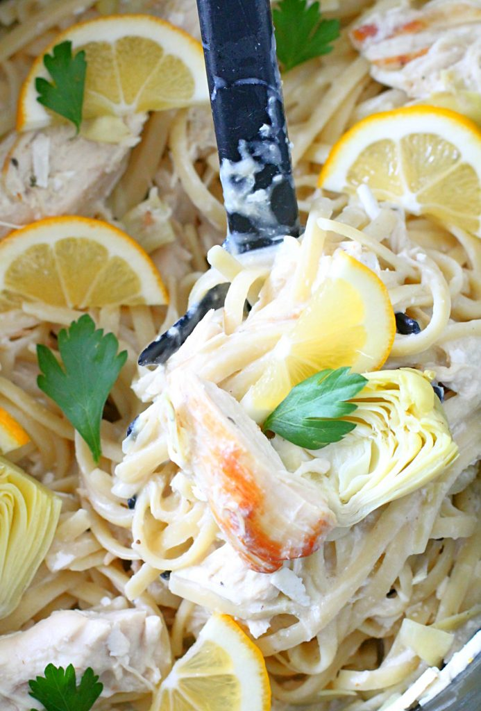 Slow Cooker Creamy Lemon Chicken and Artichoke Pasta by Foodtastic Mom