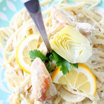 Slow Cooker Creamy Lemon Chicken and Artichoke Pasta by Foodtastic Mom
