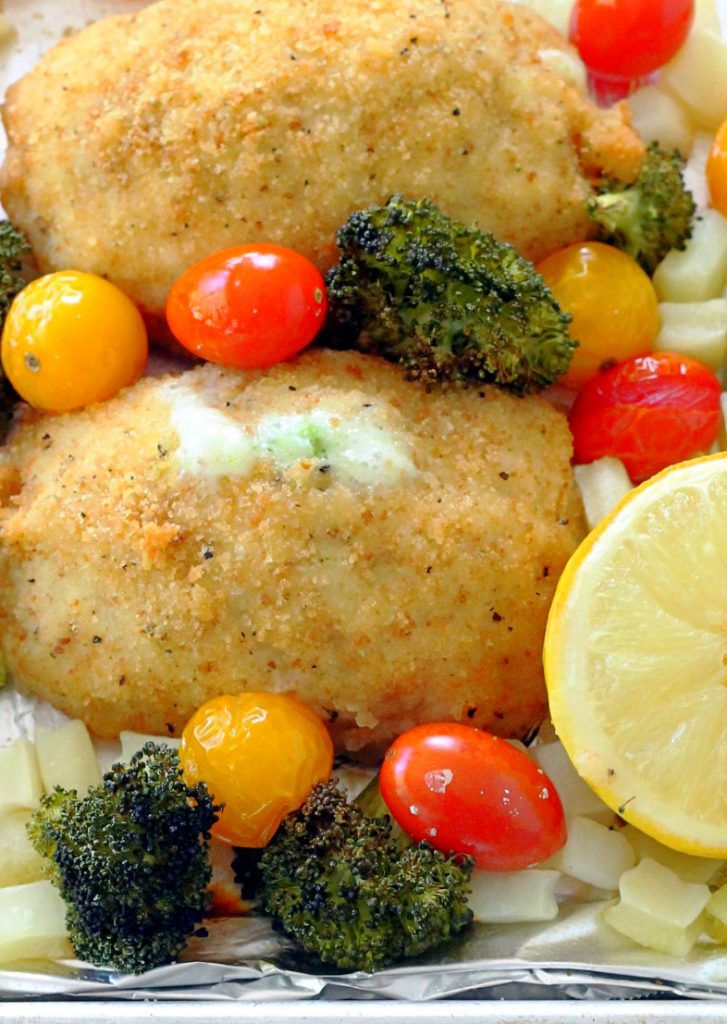 Simple Sheet Pan Meal With Barber Foods Broccoli And Cheese Chicken