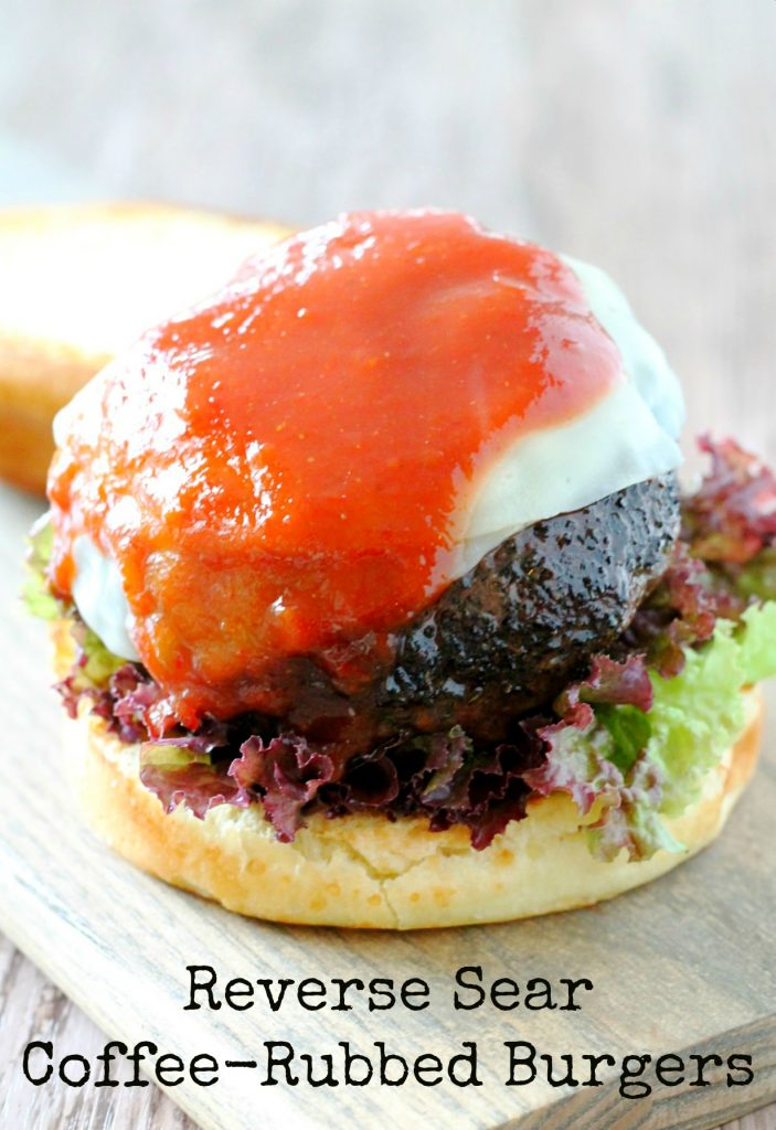 Reverse Sear Coffee Rubbed Burgers by Foodtastic Mom #SundaySupper