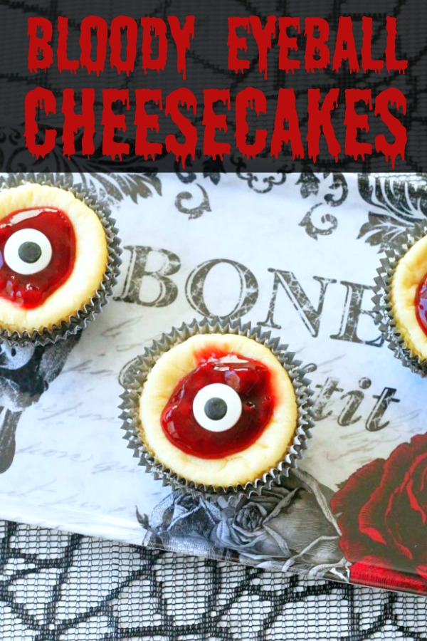 Bloody Eyeball Cheesecakes | Foodtastic Mom #halloween #halloweenrecipes #halloweendesserts #cheesecakerecipes