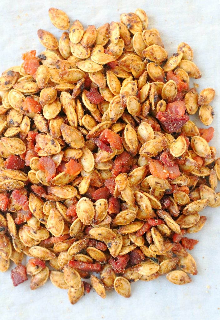 Bourbon Bacon Pumpkin Seeds by Foodtastic Mom #FallFest