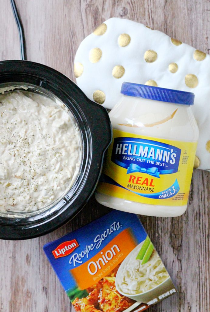 Slow Cooker Hot Golden Artichoke Dip #CelebrateMeals #ad