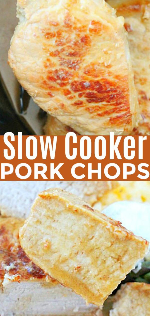 Slow Cooker Pork Chops | Foodtastic Mom #porkchops #slowcookerporkchops