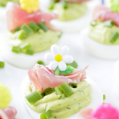Green Eggs and Ham Deviled Eggs – without food coloring