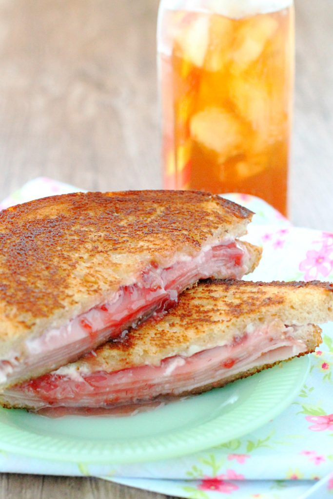 Grilled Ham and Goat Cheese with Strawberry Jam