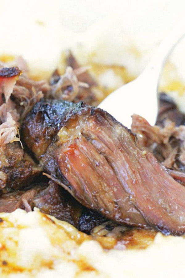 slow cooker short ribs close up with mashed potatoes