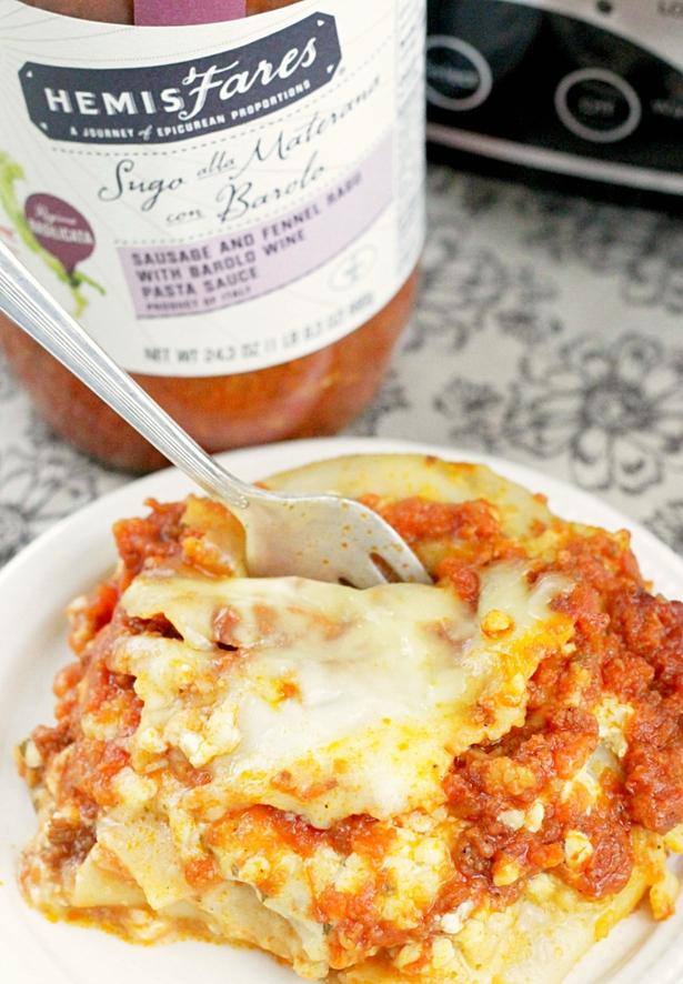 Slow Cooker Lasagna #slowcooker #lasagna #ad