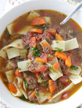 beef noodle soup top view