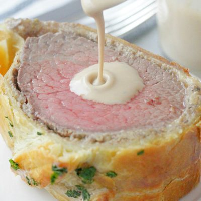holiday beef Wellington pour