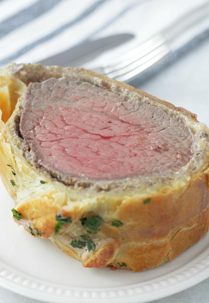 holiday beef Wellington slice