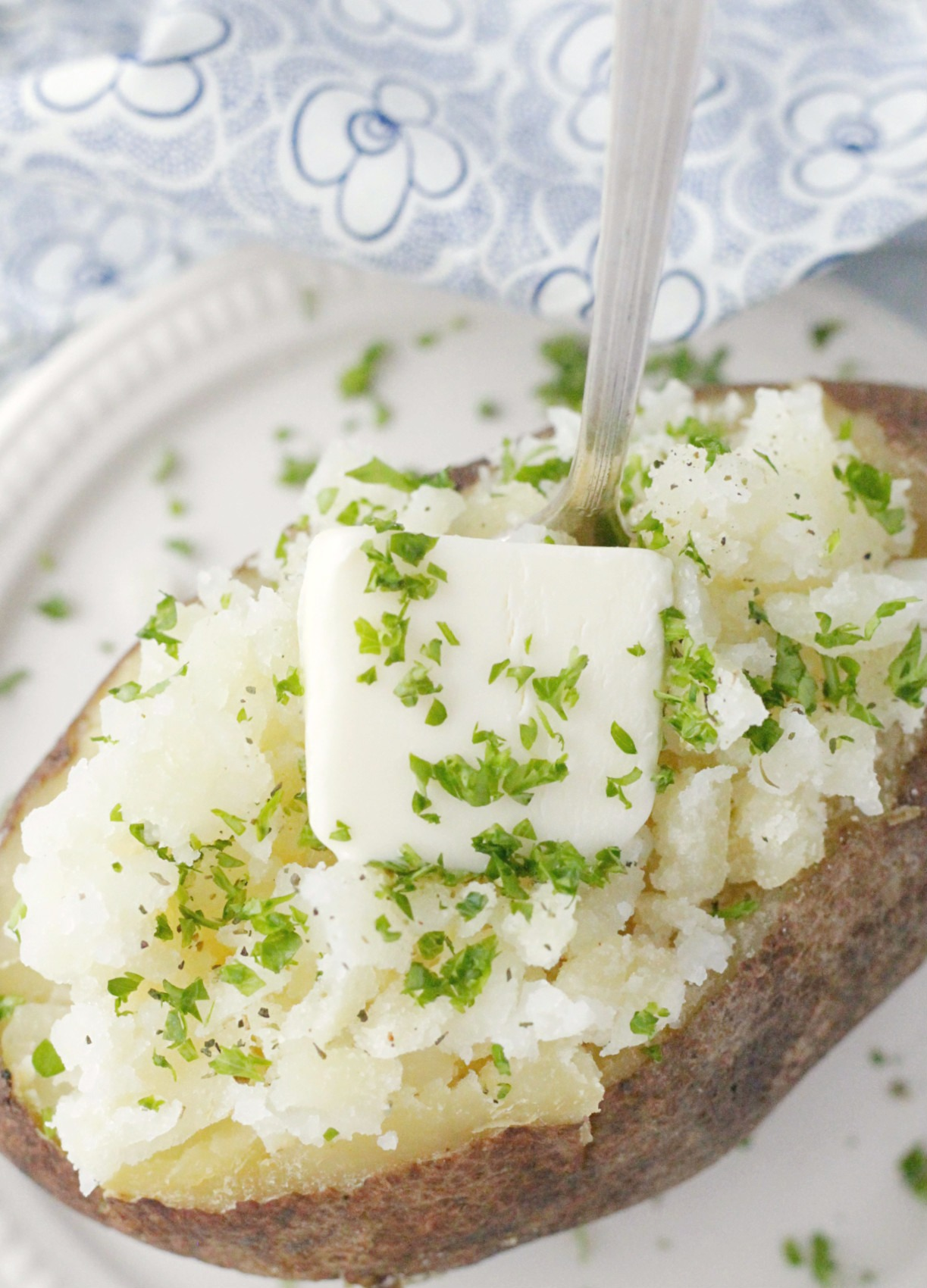 baked potato with butter top view