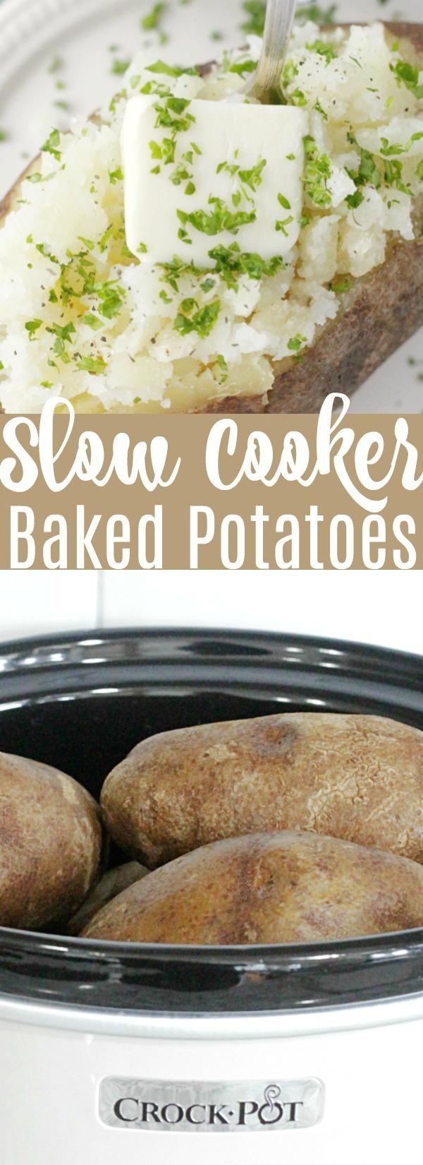 Slow Cooker Baked Potatoes | Foodtastic Mom