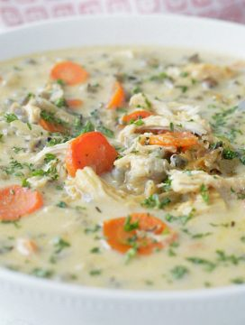 slow cooker beer cheese chicken and wild rice soup close up