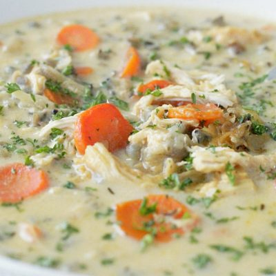 Slow Cooker Beer Cheese Chicken and Wild Rice Soup