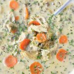 slow cooker beer cheese chicken and wild rice soup top view