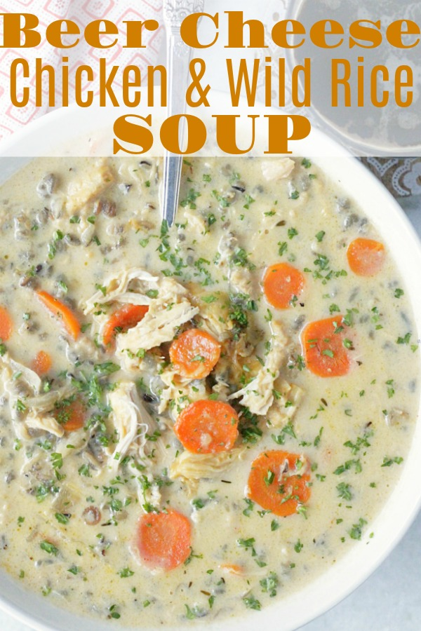 Slow Cooker Beer Cheese Chicken & Wild Rice Soup | Foodtastic Mom