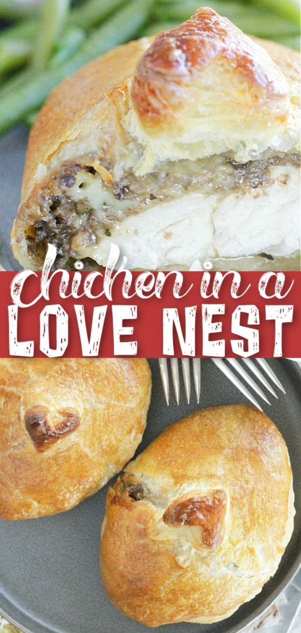 Chicken in a Love Nest | Foodtastic Mom #chickenrecipes #datenightdinnerrecipes #valentinesday via @foodtasticmom