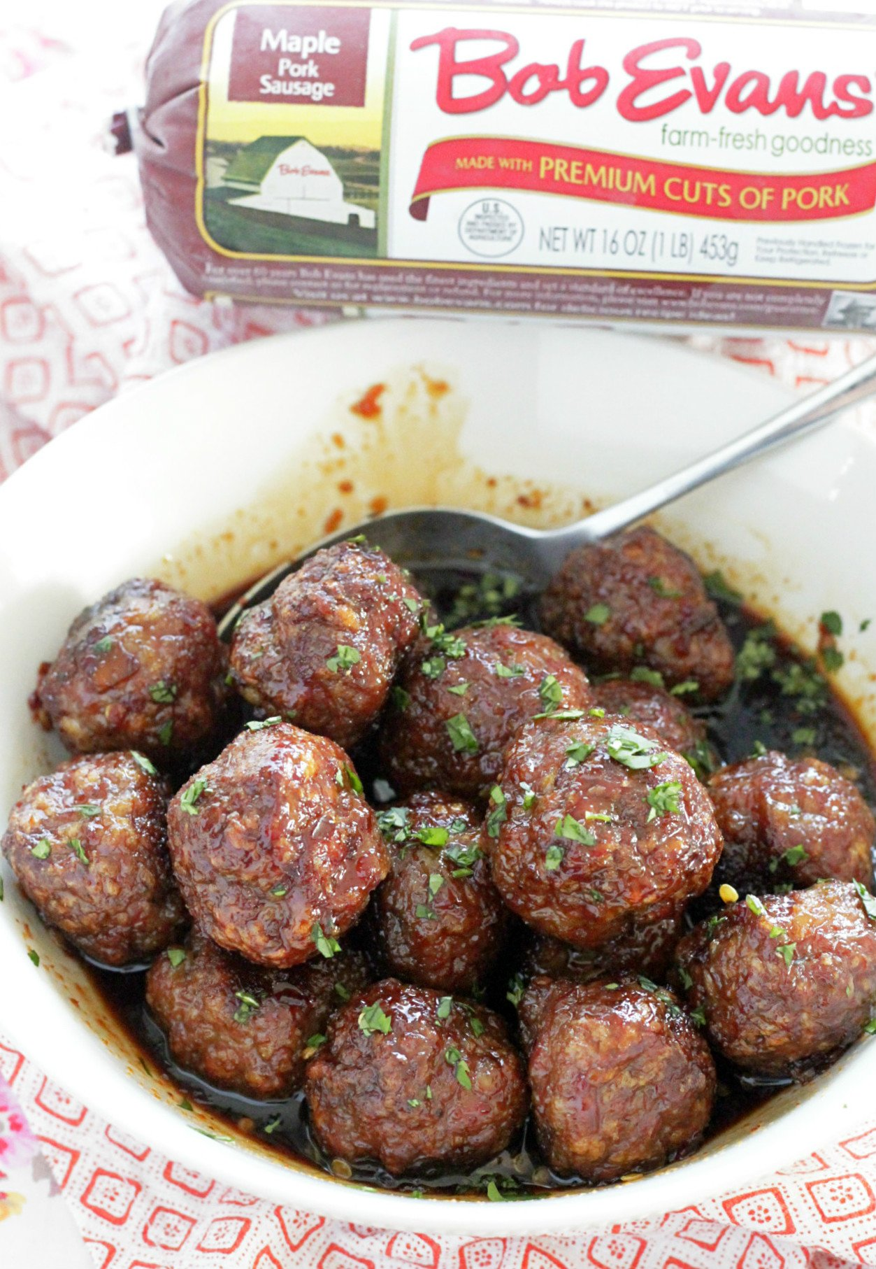 maple meatballs with bob evans sausage roll