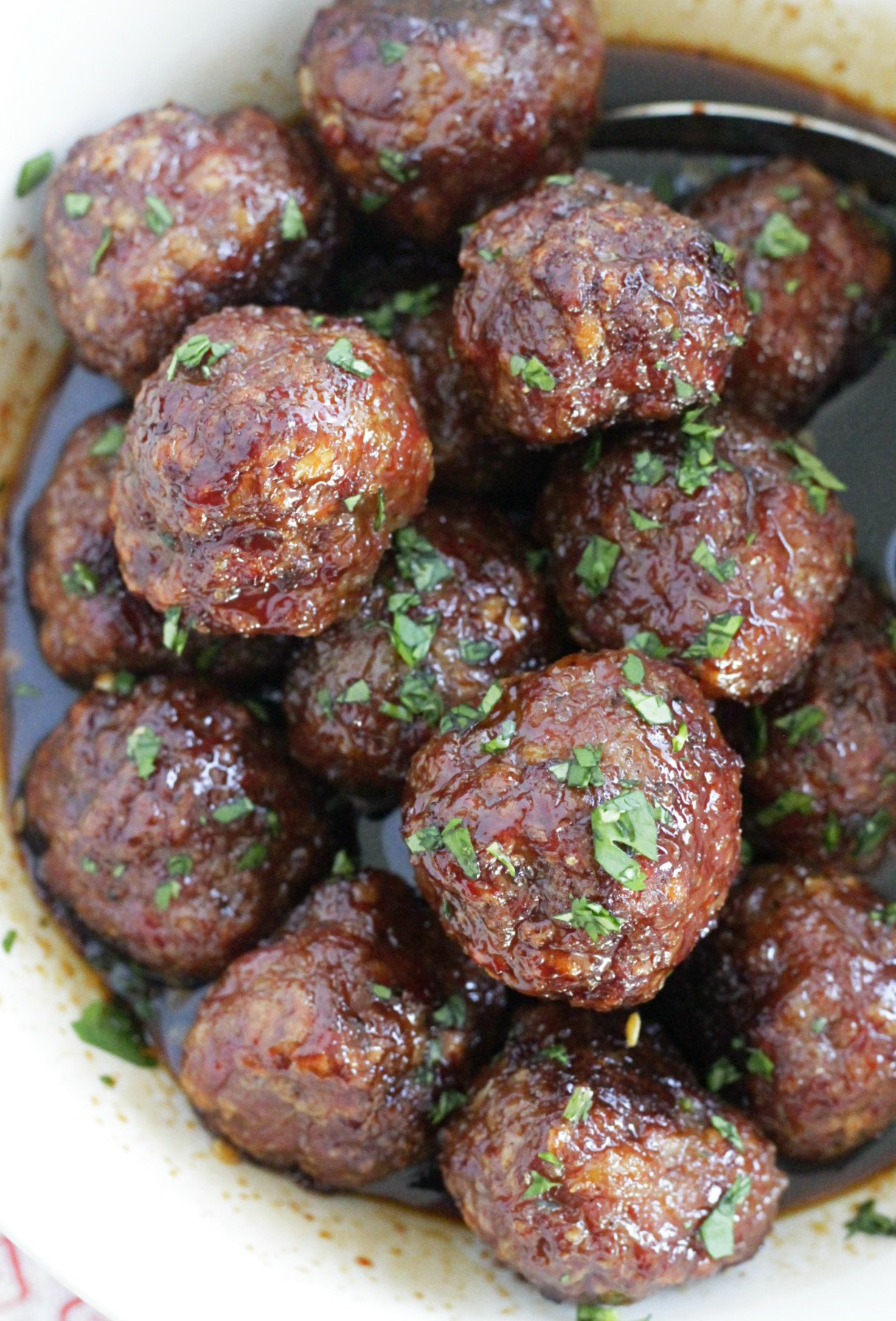 maple meatballs in a bowl