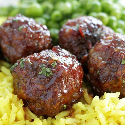 maple meatballs close up