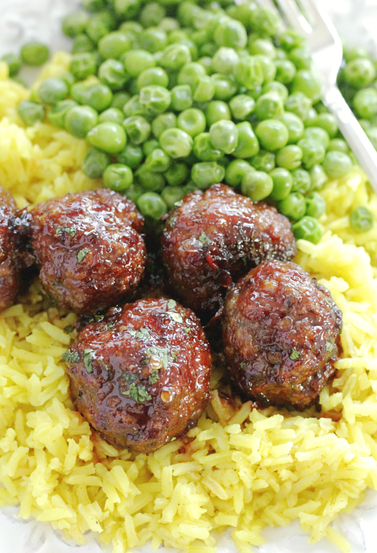 lemon rice with maple meatballs