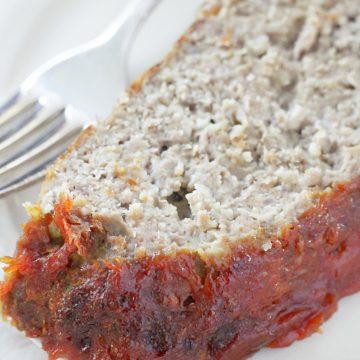 slice of meatloaf on plate