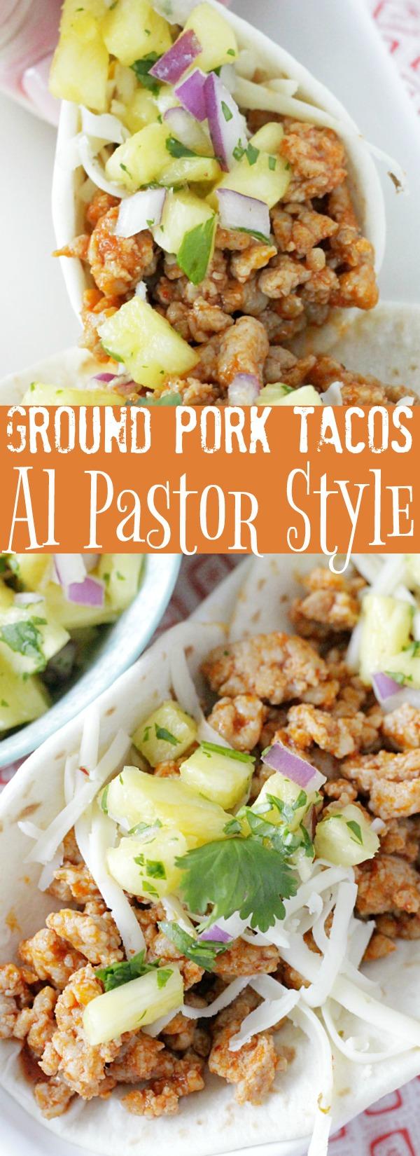 Ground Pork Tacos - Al Pastor Style | Foodtastic Mom