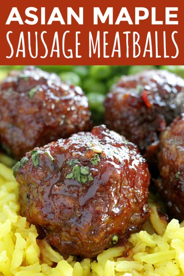 Asian Maple Sausage Meatballs   Foodtastic Mom #meatballrecipes #meatballs #ohiopork #ad