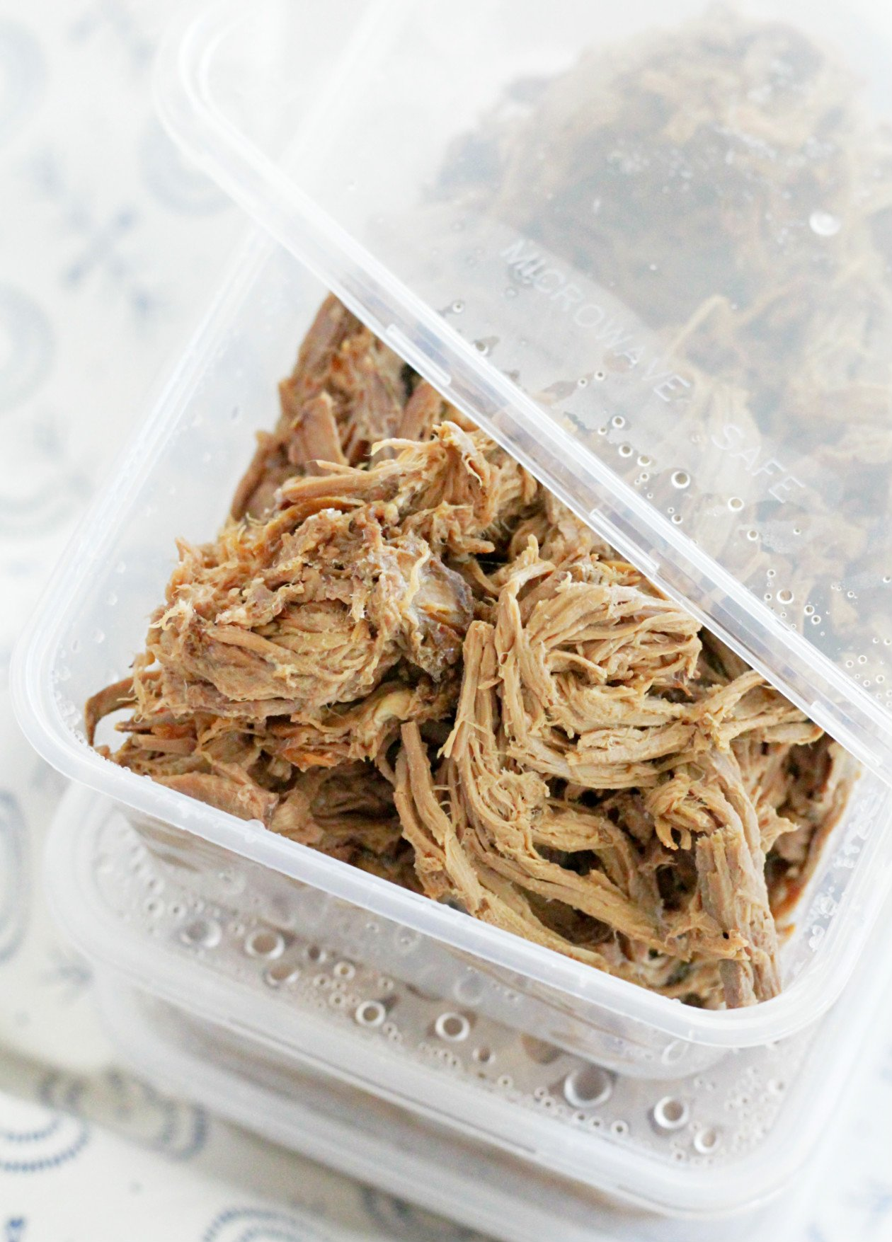 cook once eat all week with shredded beef close up of beef in meal prep containers