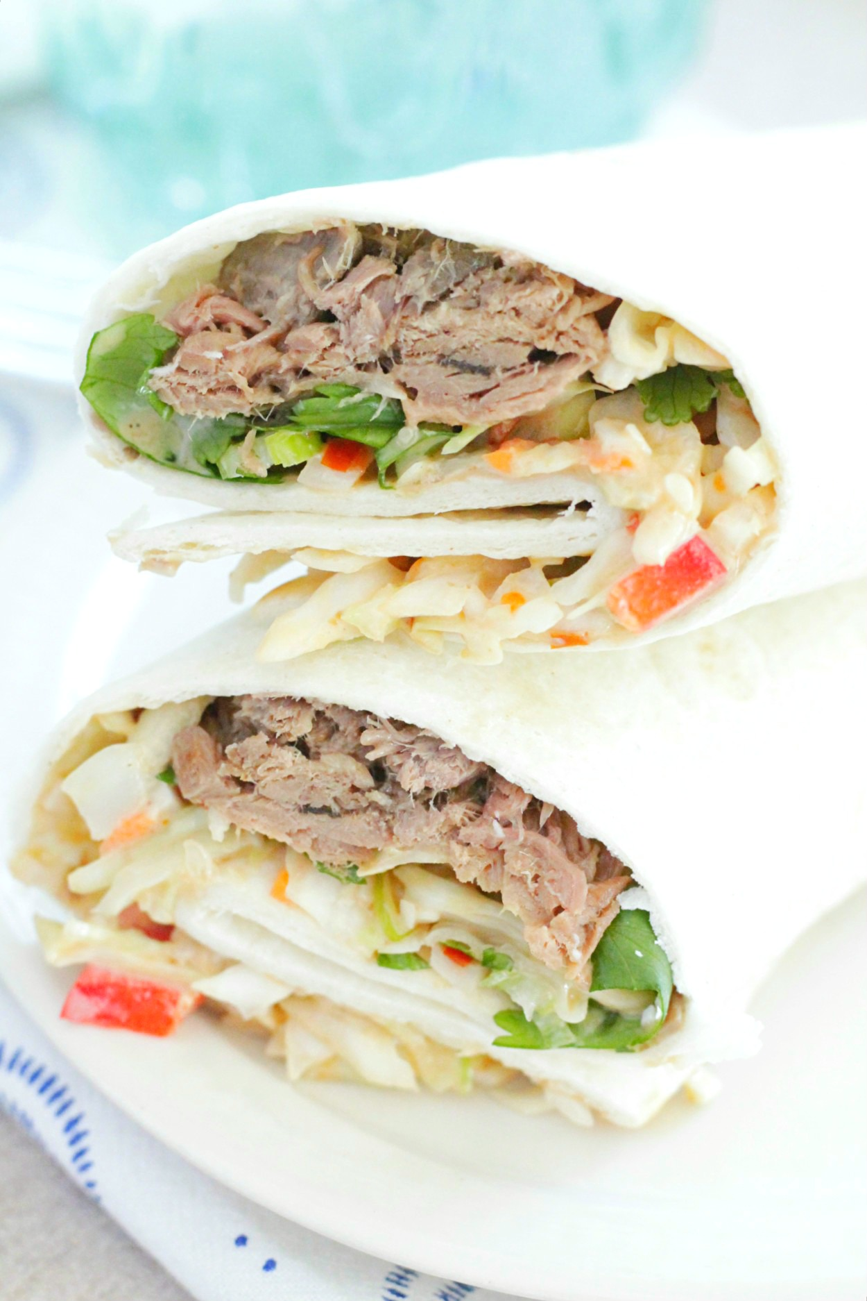 cook once eat all week with shredded beef close up of asian beef wrap with creamy hoisin slaw