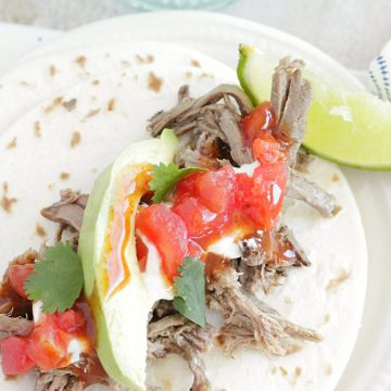 cook once eat all week with shredded beef close up of street taco