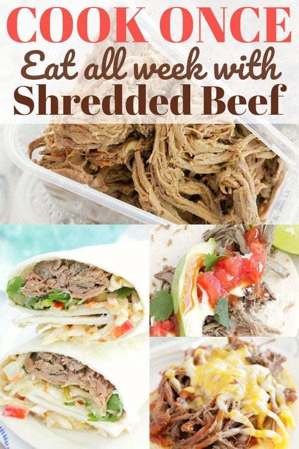 Cook Once Eat All Week with Shredded Beef | Foodtastic Mom #beef #mealprep #mealplanning #cookonceeatallweek #dinner #beefrecipes #easydinners