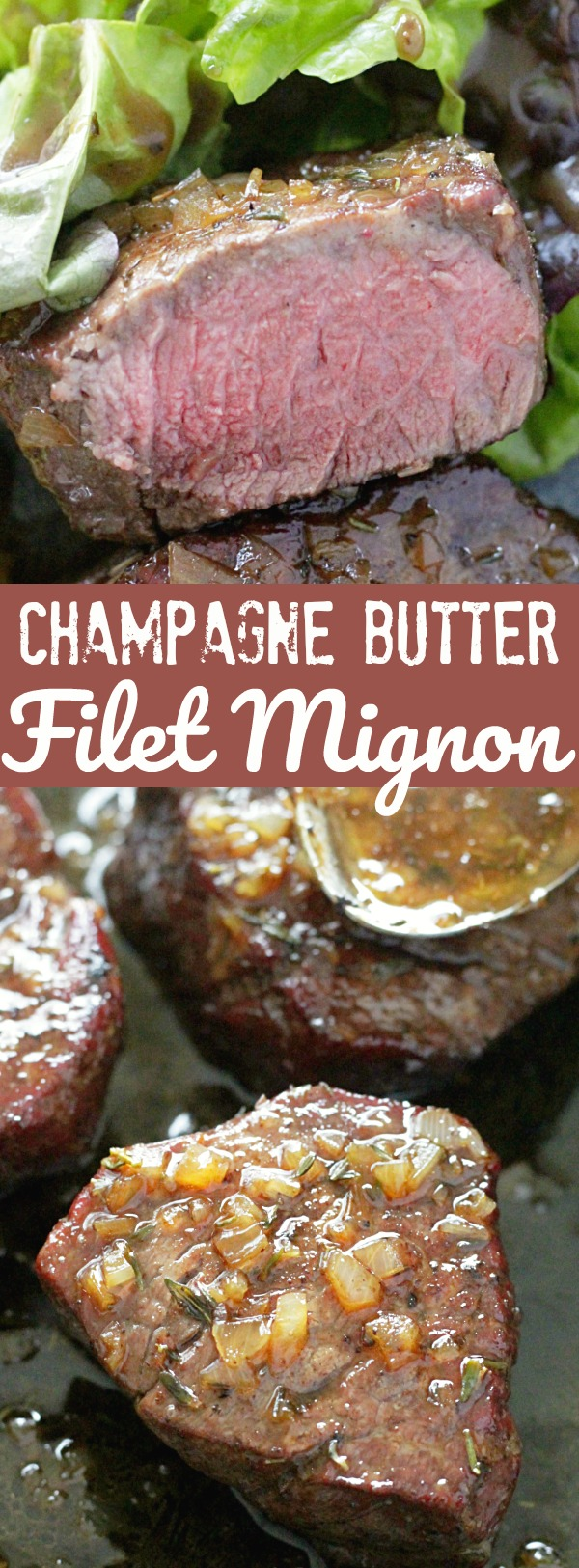 Reverse Sear Filet Mignon with Champagne Butter Sauce | Foodtastic Mom #ohbeef #ad