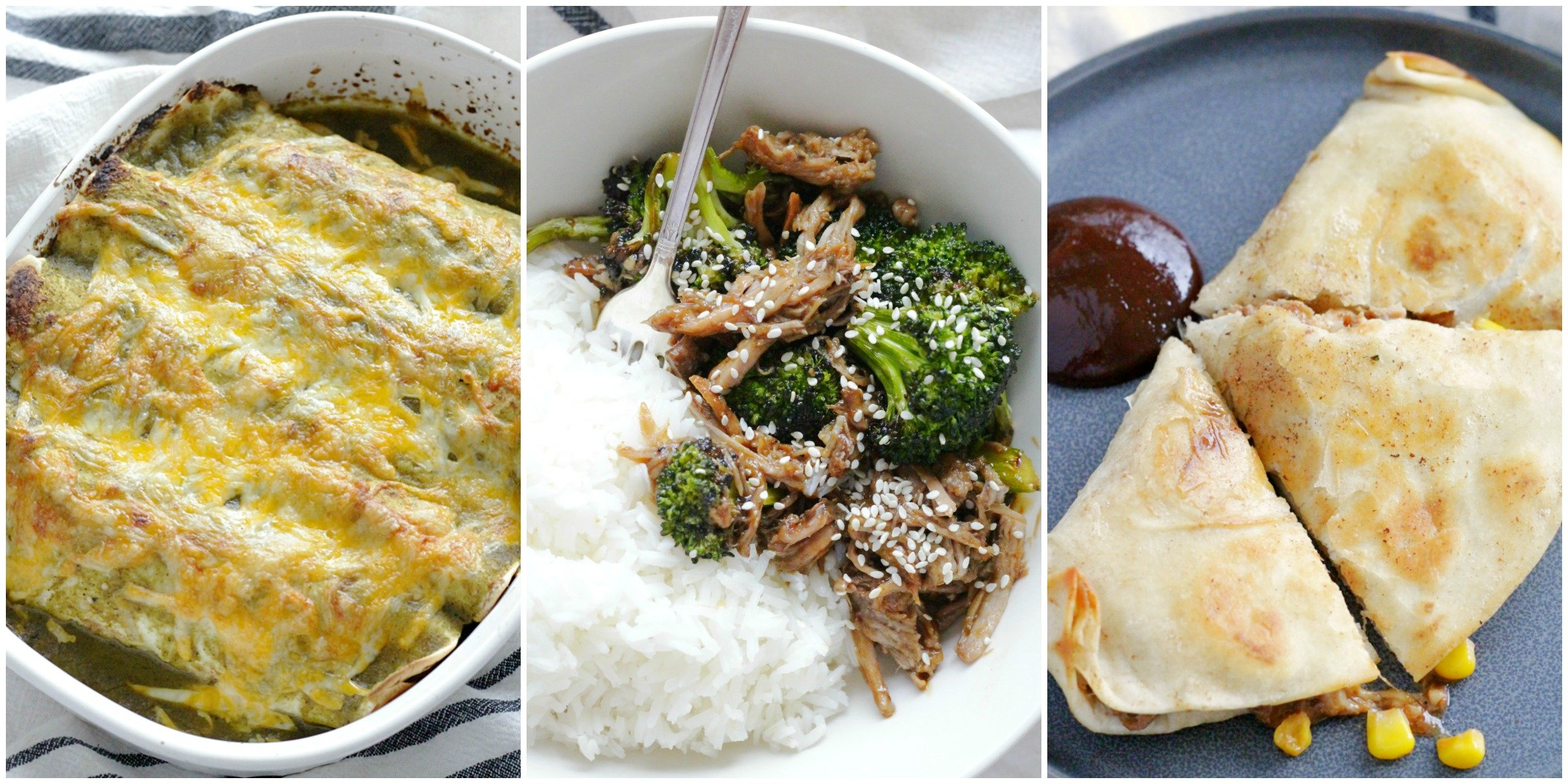 collage of pulled pork recipes - pork enchiladas, pork teriyaki bowls, bbq pork quesadillas