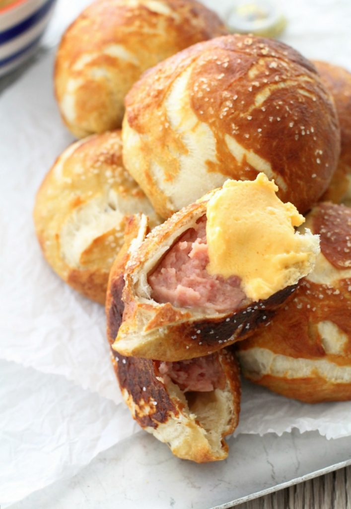 march madness party recipes sausage stuffed pretzels with beer cheese